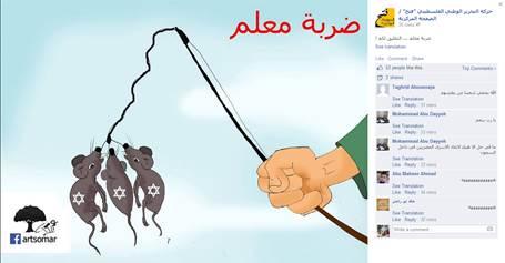 Officiële Facebook pagina van Fatah van president Abbas: er zijn drie Joodse ratten (tieners) gevangen.