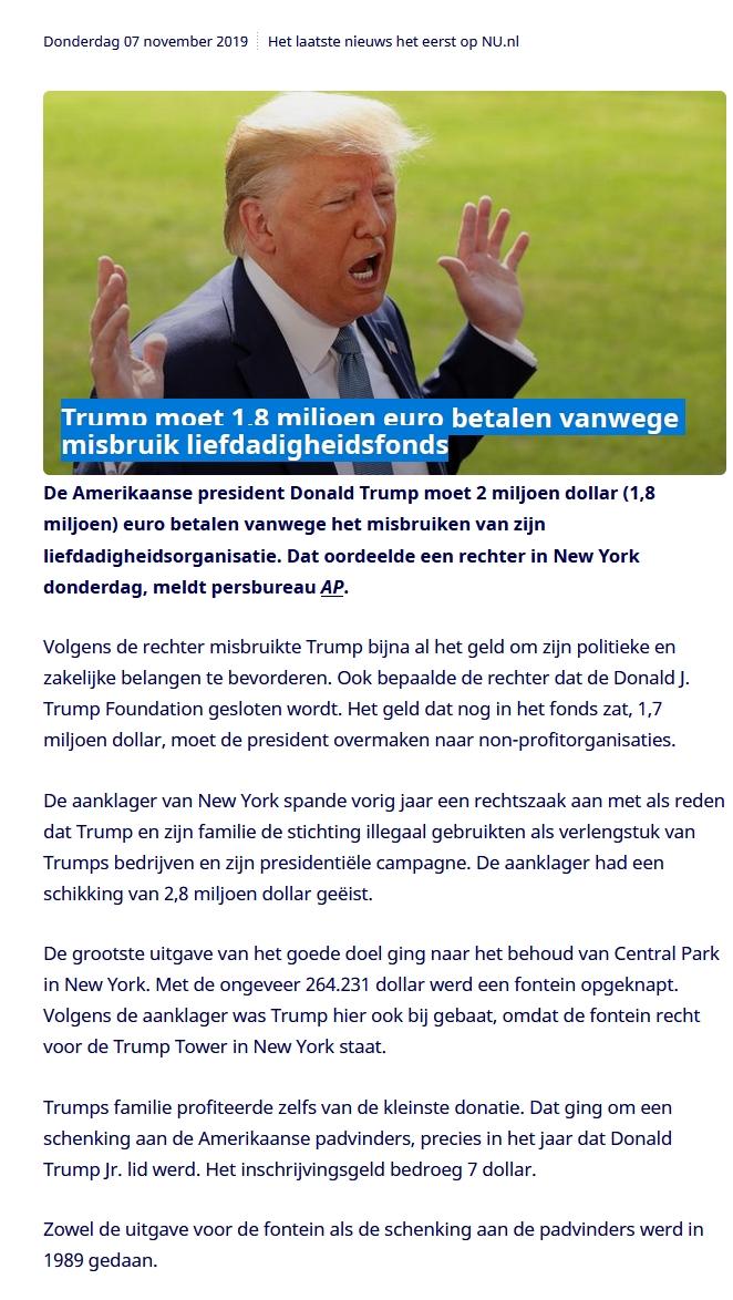 Trump moet 1,8 miljoen euro betalen vanwege misbruik liefdadigheidsfonds